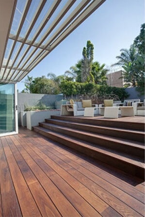 A wood deck and steps finished using plant-based exterior wood finishing oil.