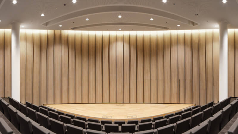 Beautiful acoustic absorbing panels with veneer wood finished with Rubio Monocoat hardwax oil wood finish.