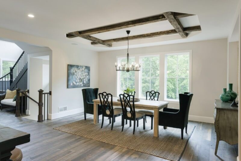 Dining room with hardwood floors finished with Rubio Monocoat.