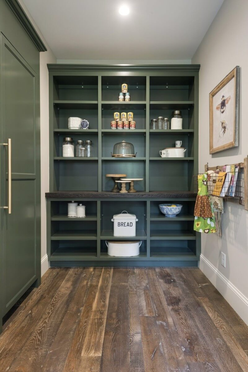 Pantry with rustic wooden floors finished with Rubio Monocoat.