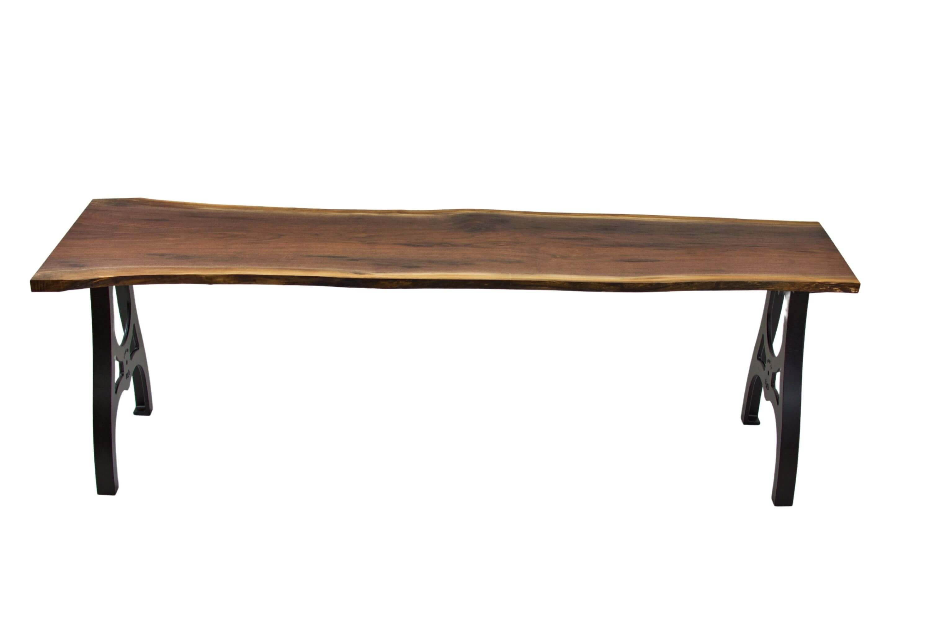 Full view of live edge walnut table finished with Rubio Monocoat products.