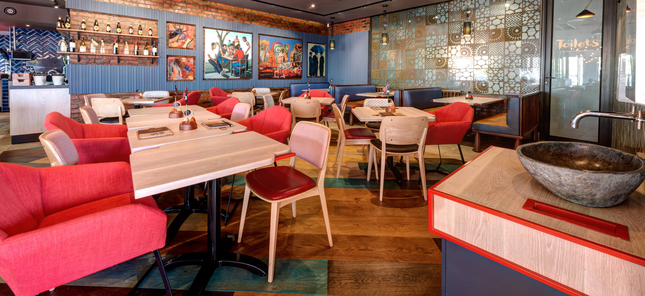 Rubio Monocoat used in a restaurant for wood surfaces.