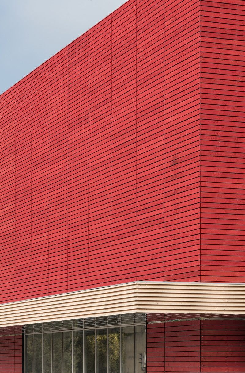 Library features exterior wood cladding finished with Rubio Monocoat.