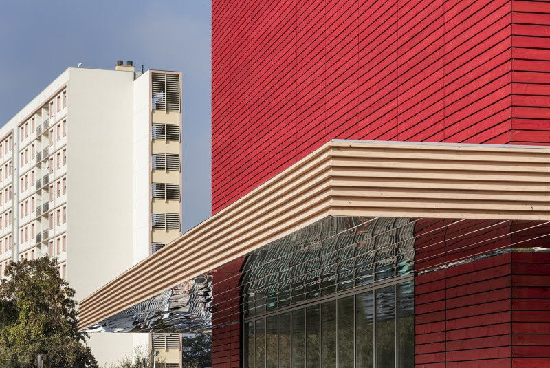 Wooden exterior of library in France finished with Rubio Monocoat.