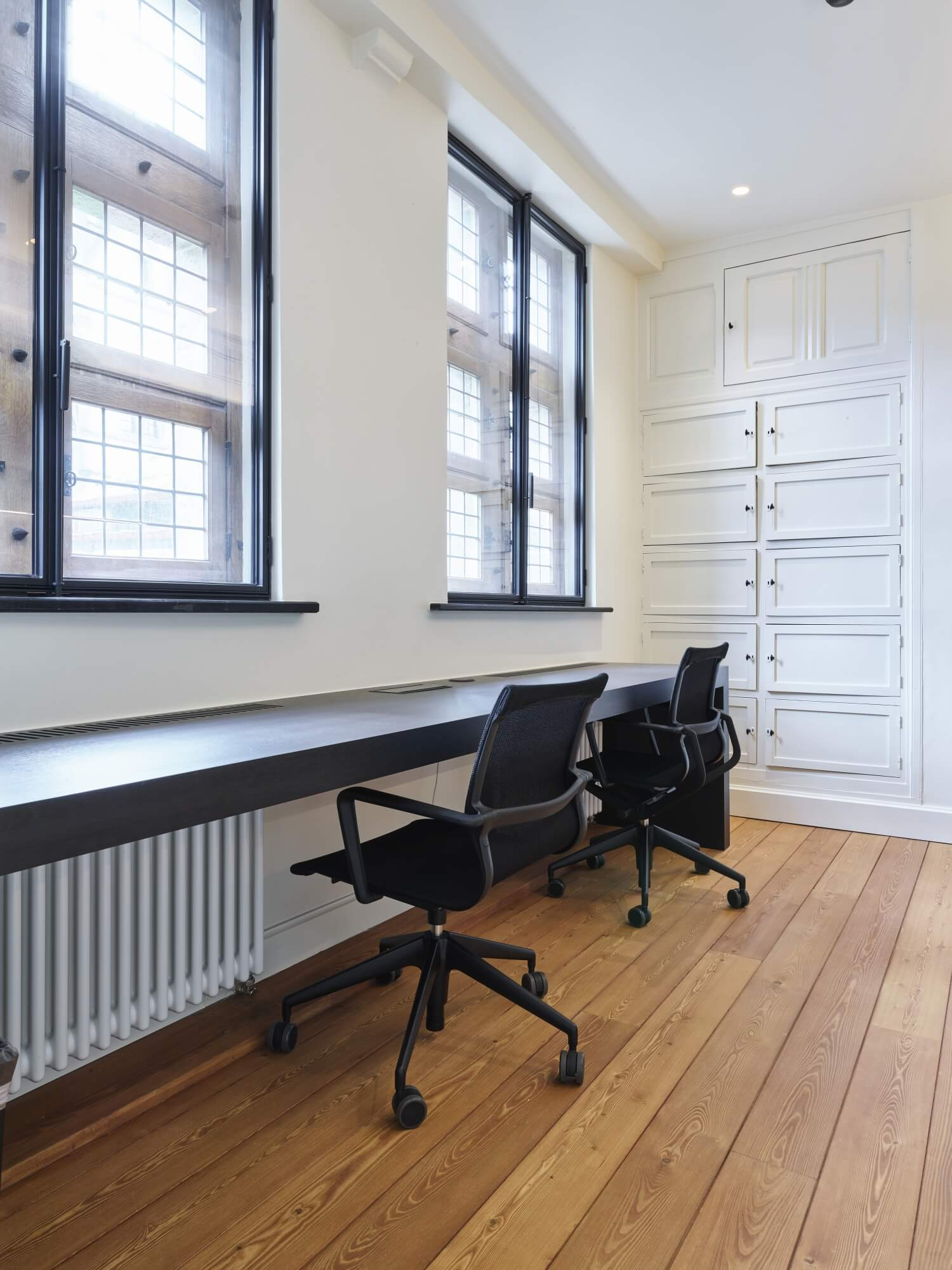 Solid wood flooring in an office.