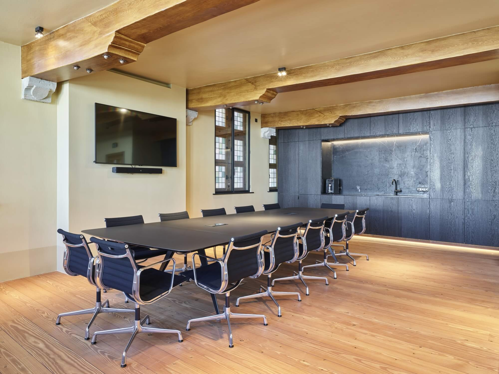 Office floors made from wood.