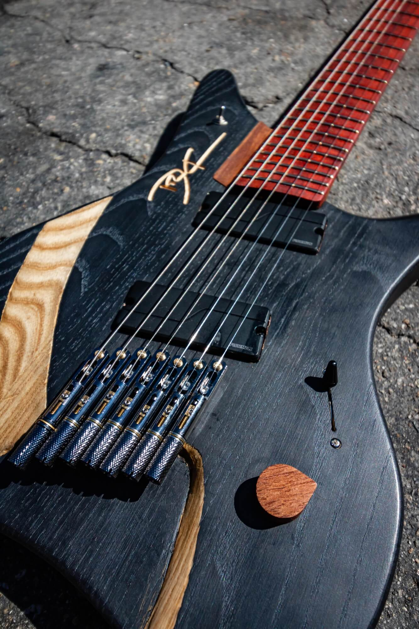 Hardwax oil wood electric guitar finish.