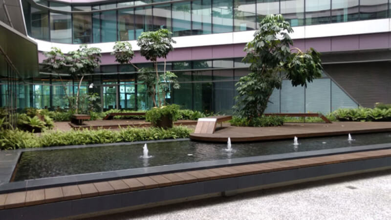Ipe wood at university in Singapore finished with Rubio Monocoat.