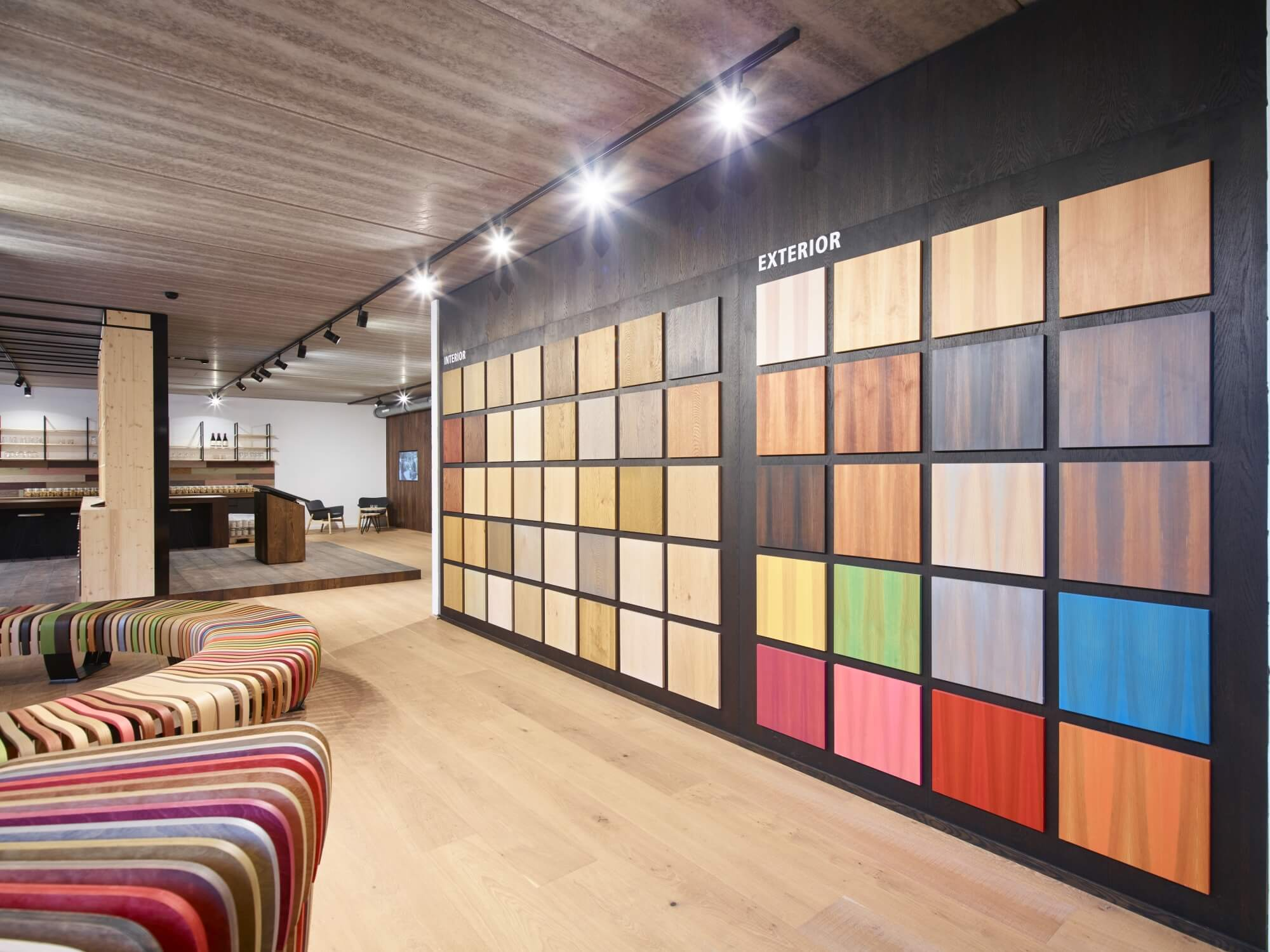 Rubio Monocoat colors on display at the Rubio Monocoat headquarters in Belgium.