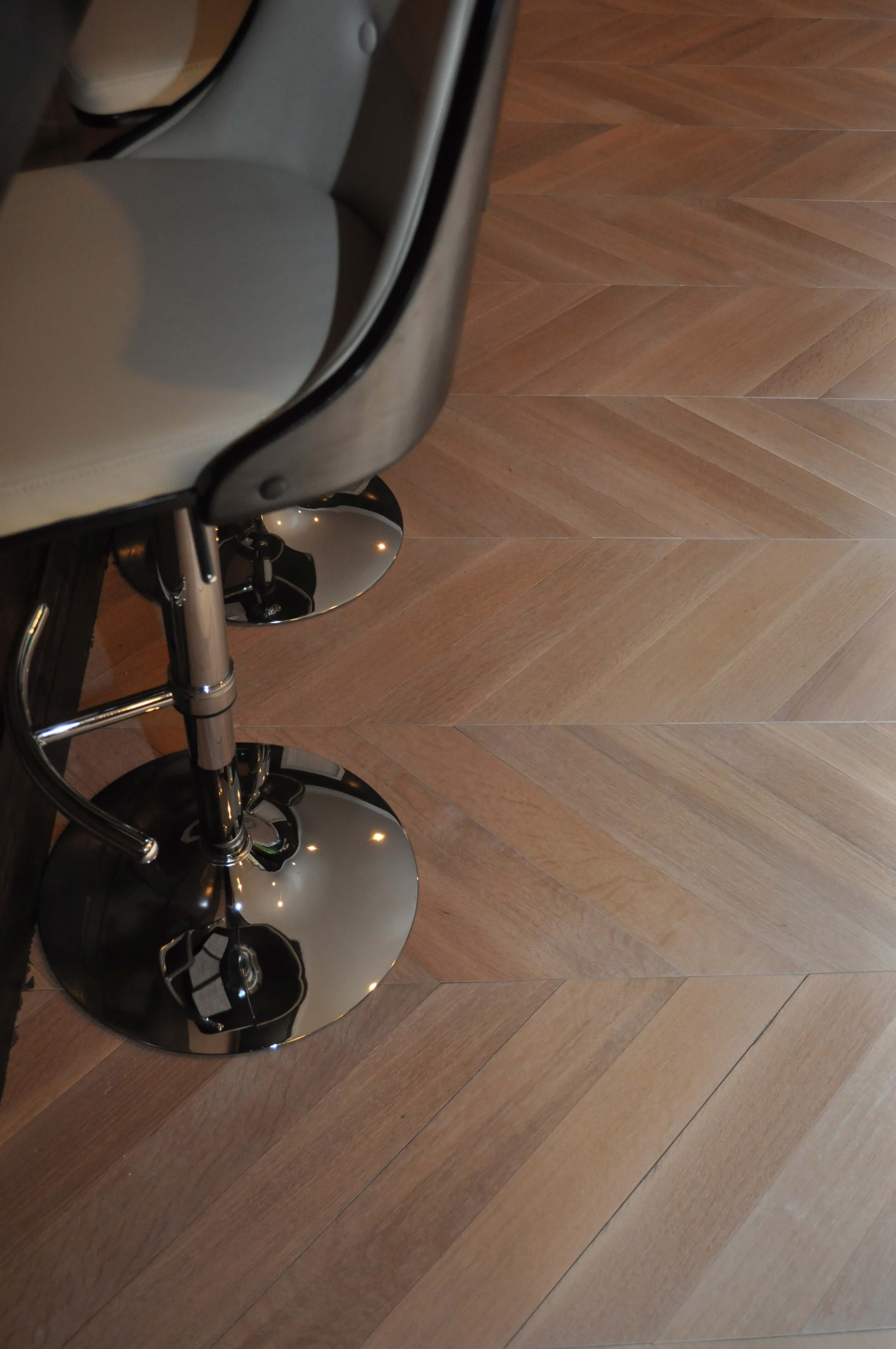 Details of chevron floor finished with Rubio Monocoat.