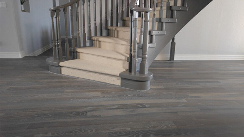 A residential floor that is fumed and finished with white oil.
