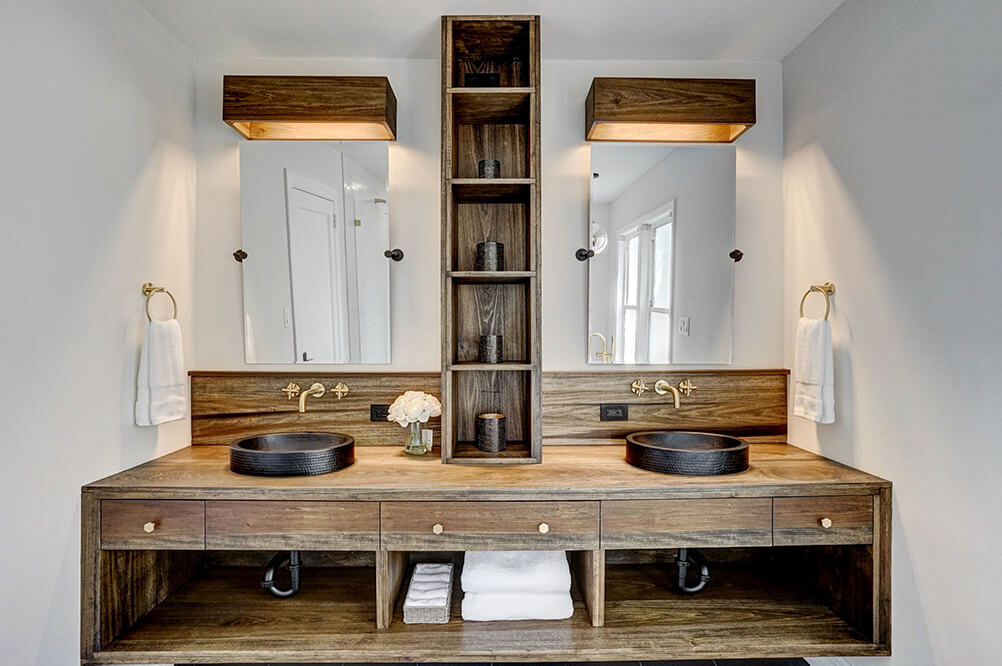 Gorgeous wooden bathroom vanity finished with Rubio Monocoat Oil Plus 2C.