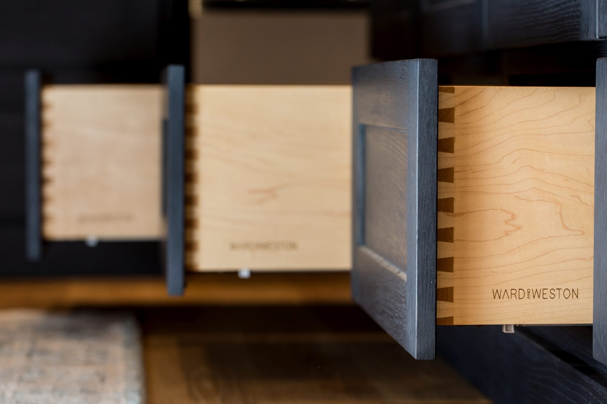 Dovetail drawers with a hardwax oil wood finish on them.