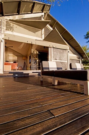 Wood decking finished with exterior decking oil.