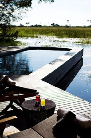 A raised deck pool with wood deck over an African marsh.