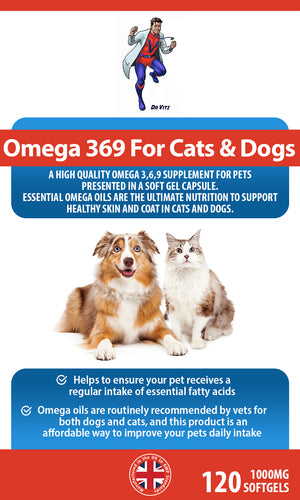 Omega 369 Pet Perfect for Cats & Dogs 1000mg 120 Softgels - Dr Vitz