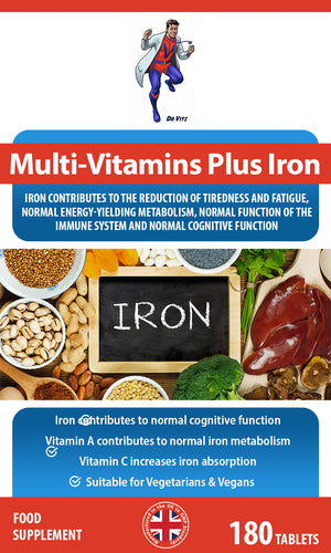 Multivitamin Plus Iron 180 Tablets - Dr Vitz