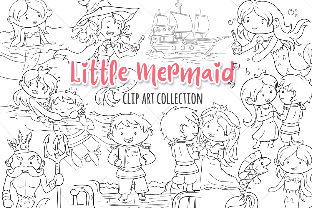 Little Mermaid Digital Stamps