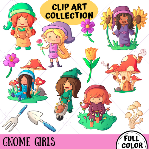 Gnome Girls Clip Art Collection