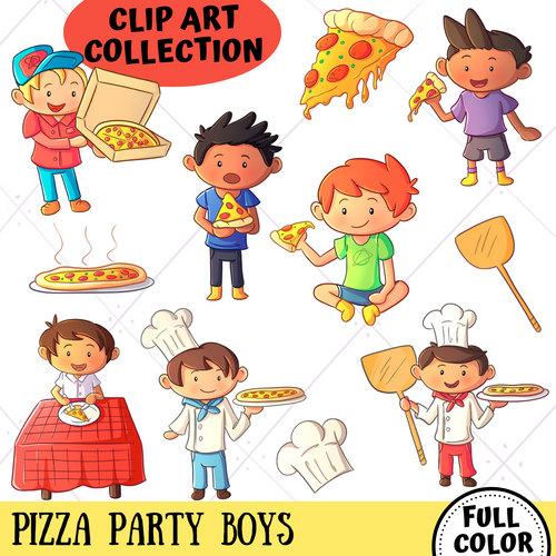 Pizza Party Boys Clip Art Collection