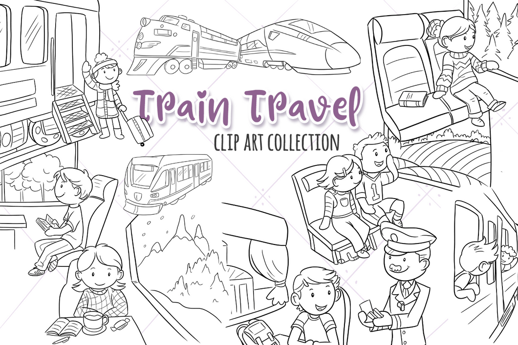 Train Travel Digital Stamps
