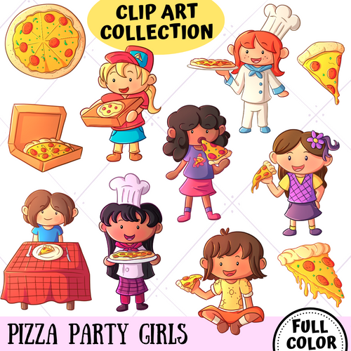 Pizza Party Girls Clip Art Collection