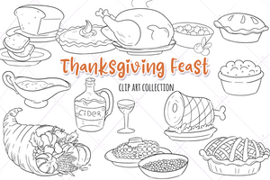Thanksgiving Feast Digital Stamps