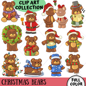 Beary Christmas Clip Art Collection