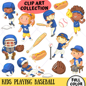 Playing Baseball Clip Art Collection