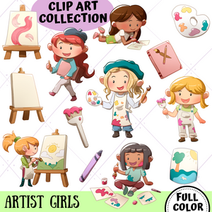 Artist Girls Clip Art Collection