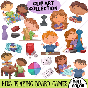 Playing Board Games Clip Art Collection