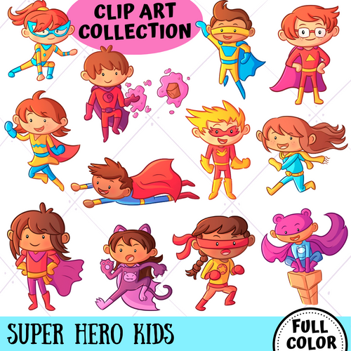 Super Hero Kids Clip Art Collection
