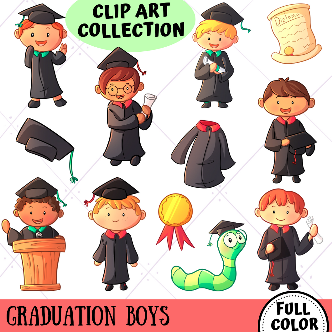 Graduation Boys Clip Art Collection