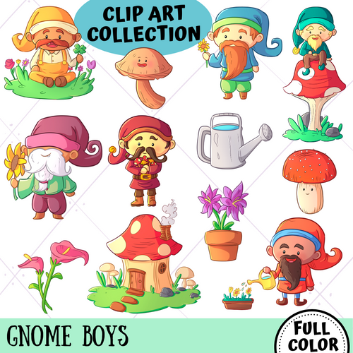 Gnome Boys Clip Art Collection