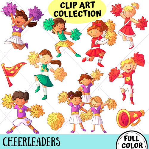 Cheerleader Kids Clip Art Collection