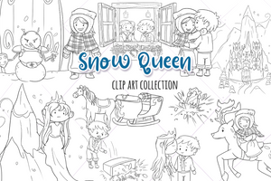 Snow Queen Digital Stamps