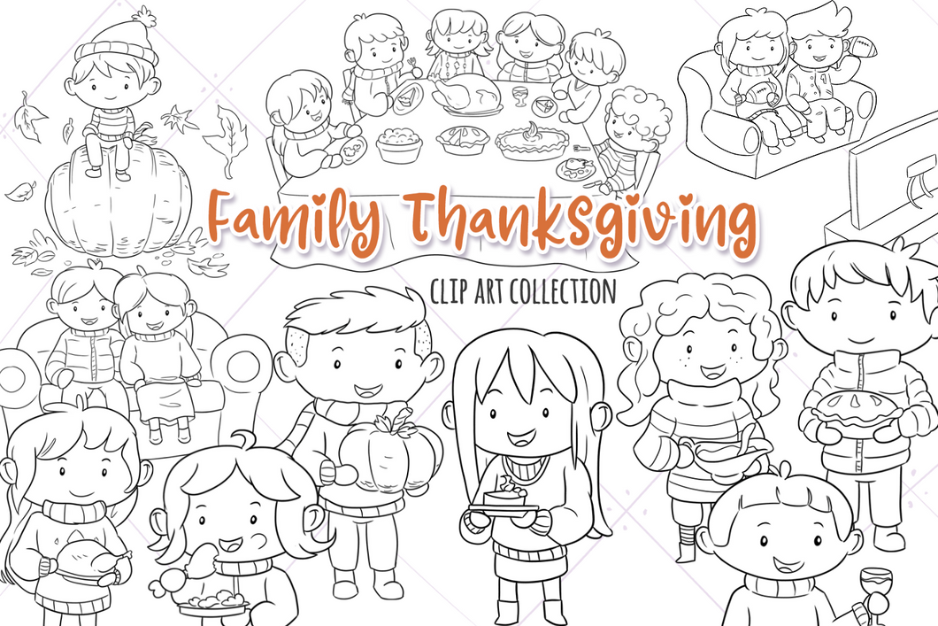 Family Thanksgiving Digital Stamps