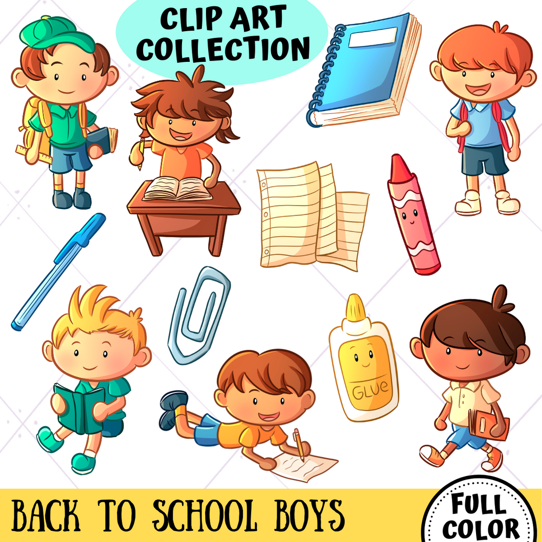 Back To School Boys Clip Art Collection
