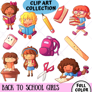 Back To School Girls Clip Art Collection