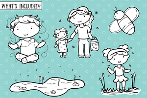 Catching Fireflies Digital Stamps