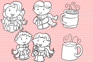 Winter Hot Cocoa Digital Stamps
