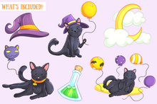 Load image into Gallery viewer, Halloween Party Cats Clip Art Collection