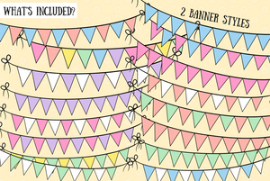 Rainbow Bunting Banners Clip Art Collection