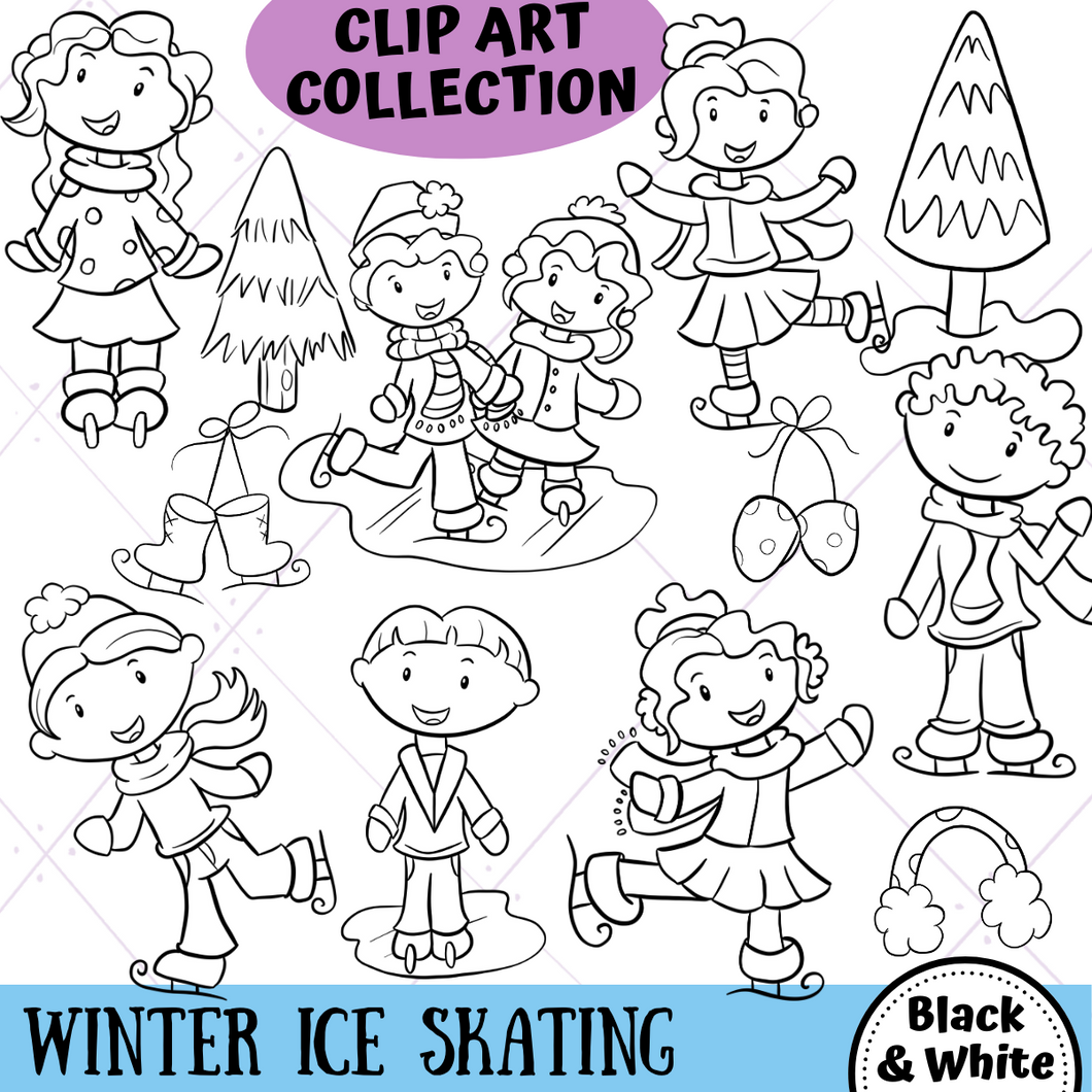 Ice Skating Digital Stamps