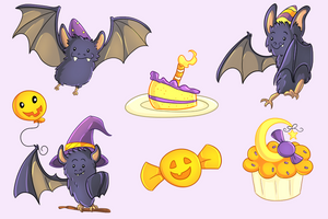 Halloween Party Bats Clip Art Collection