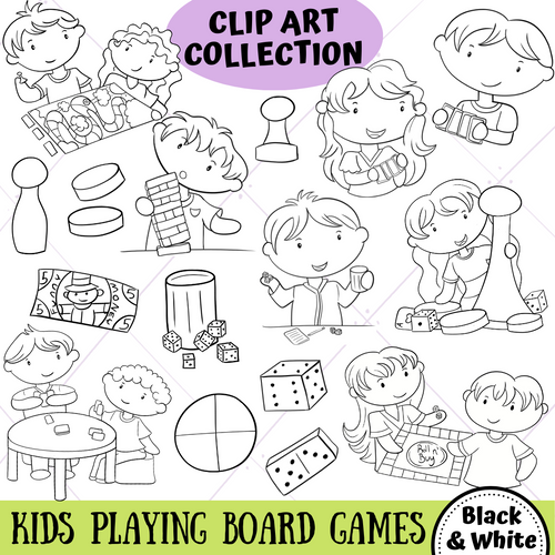 Playing Board Games Digital Stamps