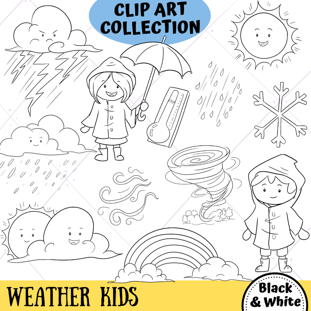 Weather Kids Digital Stamps
