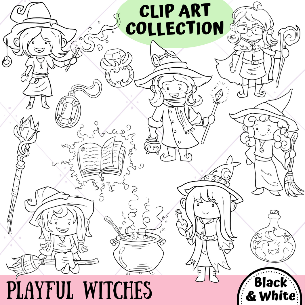 Playful Witches Fantasy Digital Stamps