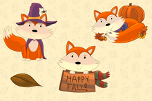 Load image into Gallery viewer, Fall Foxes Clip Art Collection