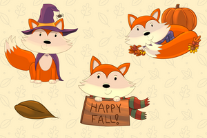 Fall Foxes Clip Art Collection